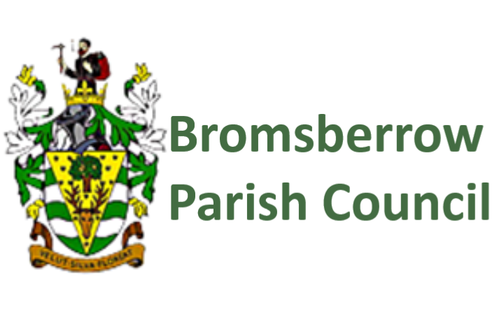 A Picture of Bromsberrow Crest along with text reading Bromsberrow Parish Council