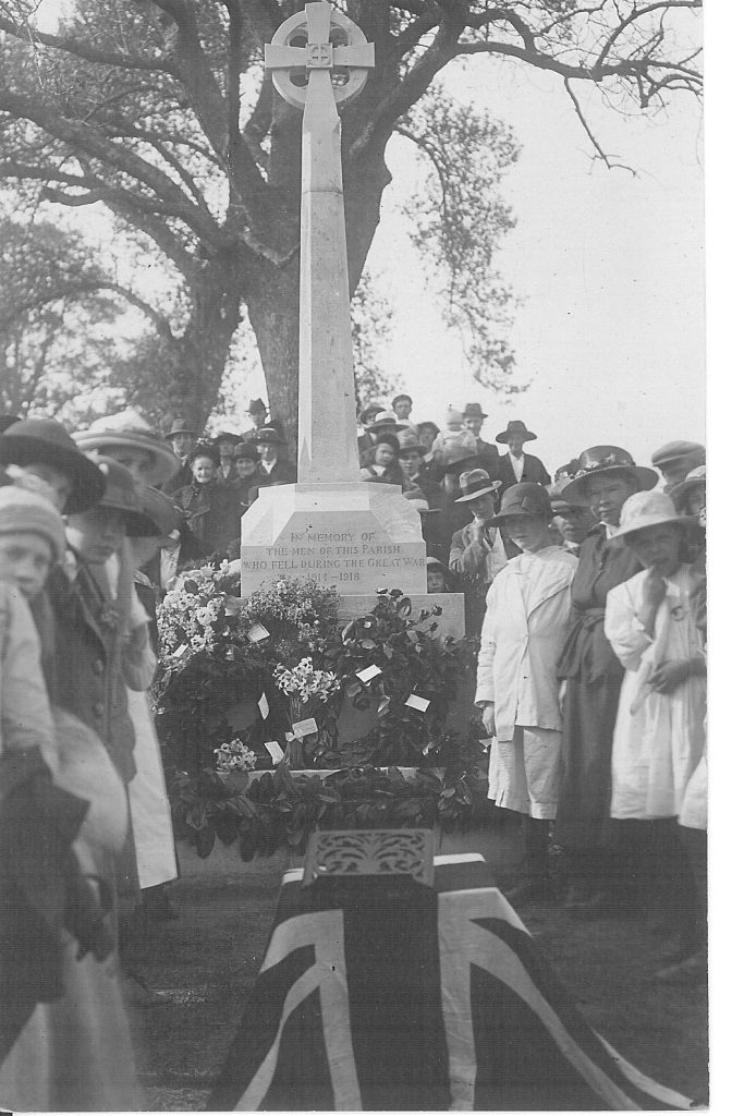 A Picture of the Bromsberrow War Memorial from 1921 at the unveiling